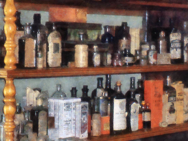 Photograph - Bottles In General Store by Susan Savad
