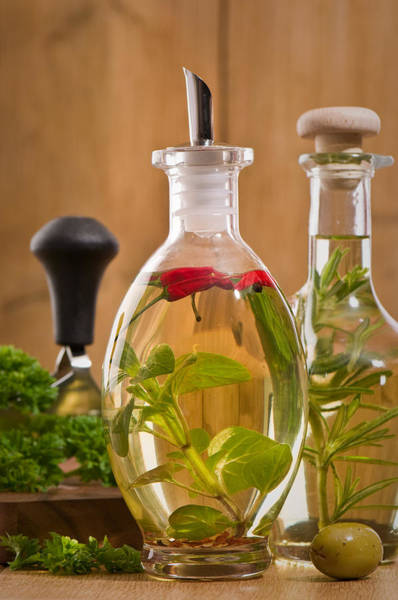 Parsley Photograph - Bottles Of Olive Oil by Amanda Elwell