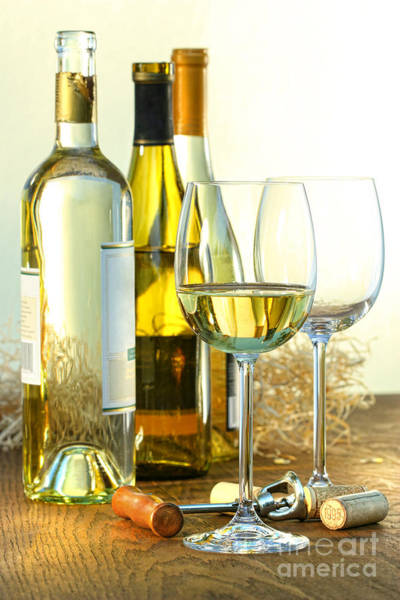Photograph - Bottles Of White Wine With Glasses  by Sandra Cunningham