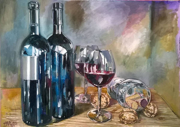 Painting - Bottles Wine And Nuts. by Lorand Sipos