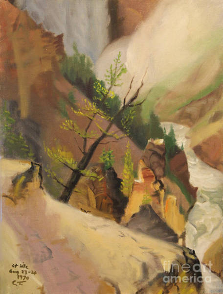 Painting - Bottom Of Yellowstone Lower Falls 1970 by Art By Tolpo Collection