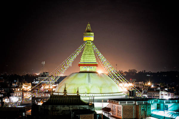 Photograph - Boudhanath Stupa At Night In Nepal Kathmandu by Raimond Klavins