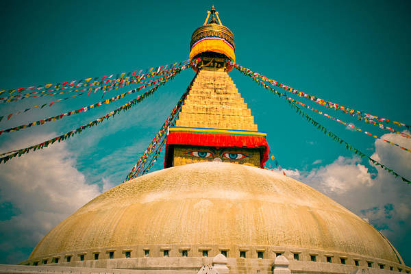 Photograph - Boudhanath Stupa In Nepal With Blue Sky by Raimond Klavins