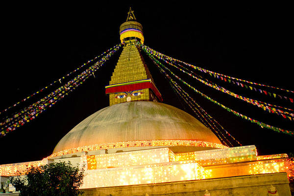 Photograph - Boudnath Stupa In Nepal At Night by Raimond Klavins