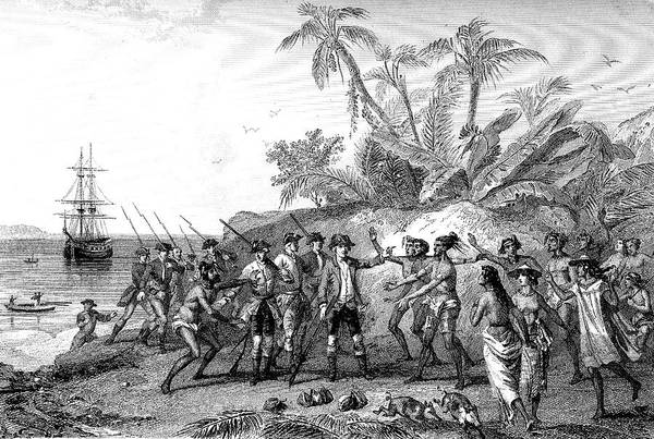 Comte Wall Art - Photograph - Bougainville In The Marquesas Islands In 1768 by Collection Abecasis/science Photo Library