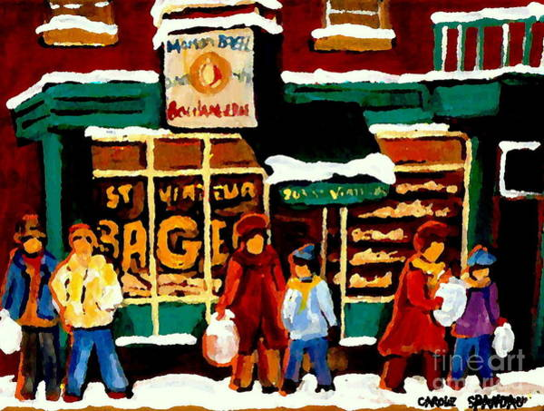 Painting - Boulangerie Bakery Deli Paintings St Viateur Bagel Shop Montreal Art City Scenes Carole Spandau by Carole Spandau