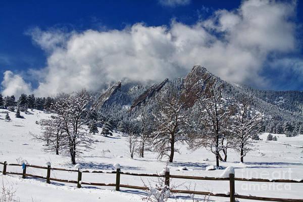 Photograph - Boulder Colorado Flatirons Snowy Landscape View by James BO Insogna