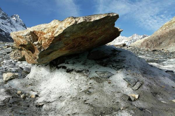 Glacial Erratic Photograph - Boulder On A Glacier by Michael Szoenyi/science Photo Library