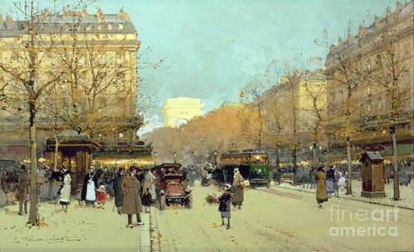 Traffic Painting - Boulevard Haussmann In Paris by Eugene Galien-Laloue