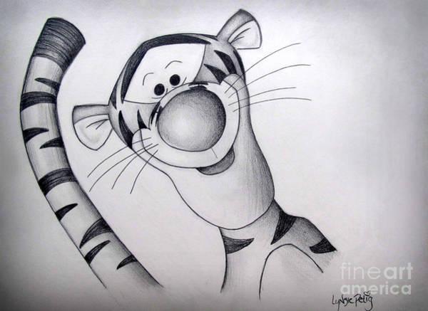 White Tiger Drawing - Bouncy Trouncy by Lynsie Petig