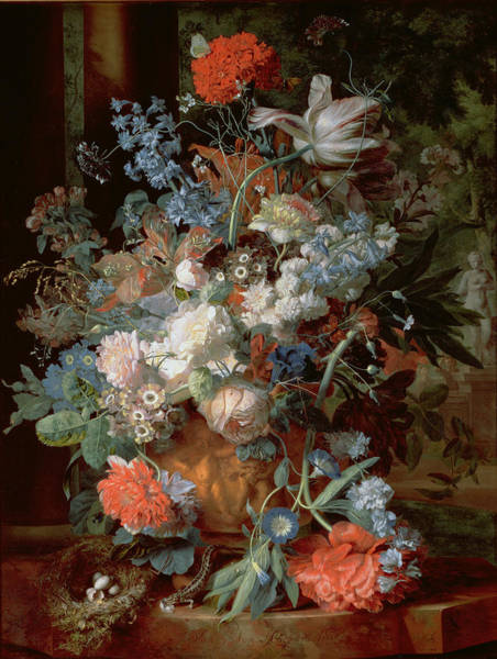 Birds Eggs Photograph - Bouquet Of Flowers In A Landscape by Jan van Huysum