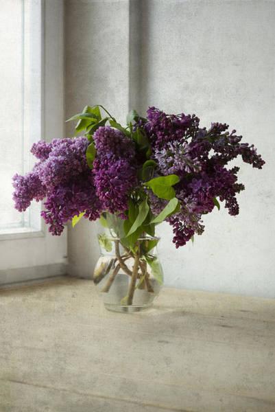 Wall Art - Photograph - Bouquet Of Lilacs In Glass Flowerpot. by Jaroslaw Blaminsky