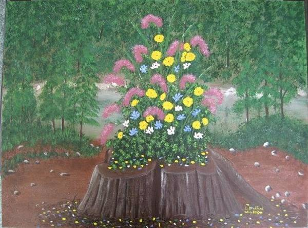 Painting - Bouquet On A Stump by Lorraine Bradford