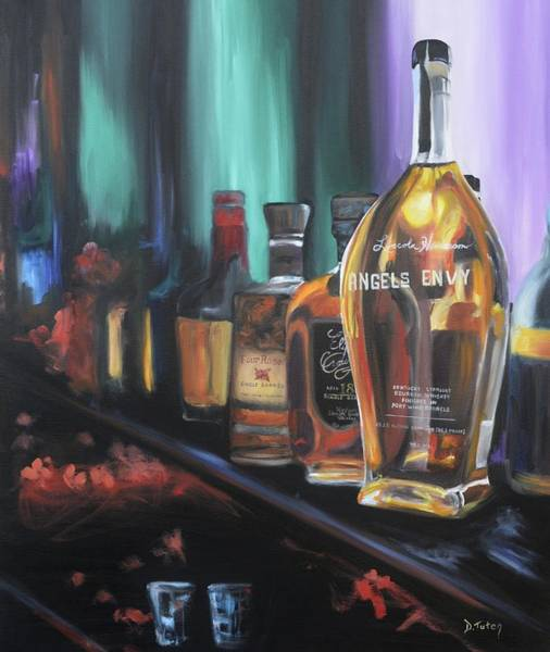 Single Rose Painting - Bourbon Bar Oil Painting by Donna Tuten