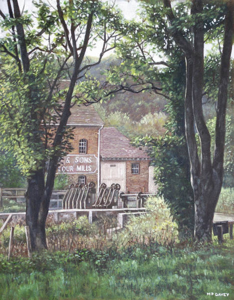 Wall Art - Painting - Bournemouth Throop Mill Through Trees by Martin Davey