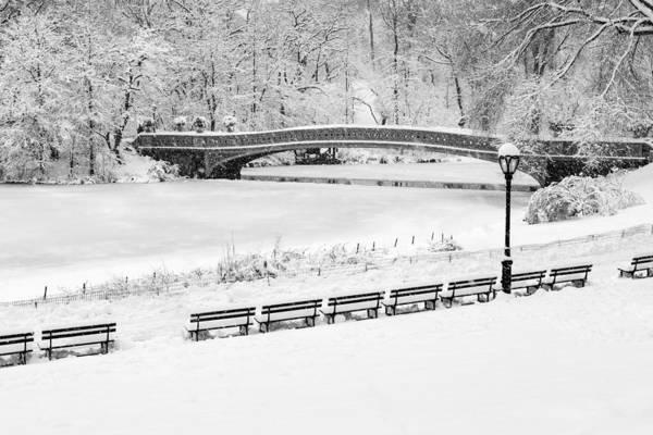 Photograph - Bow Bridge Central Park Winter Wonderland Bw by Susan Candelario