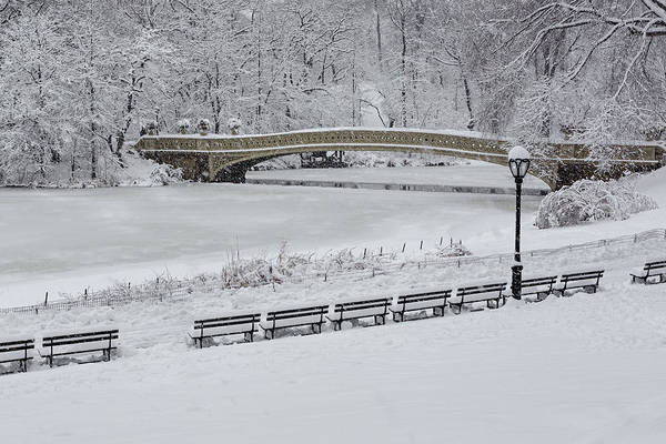 Photograph - Bow Bridge Central Park Winter Wonderland by Susan Candelario