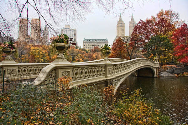 Autumn Wall Art - Photograph - Bow Bridge In Central Park by June Marie Sobrito
