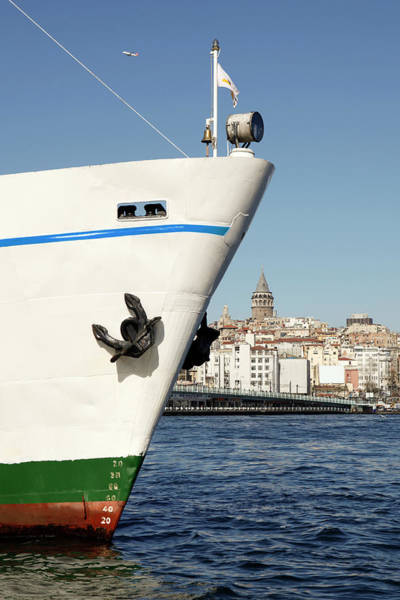 Galata Photograph - Bow Of Boat With Background Showing by Marc Volk
