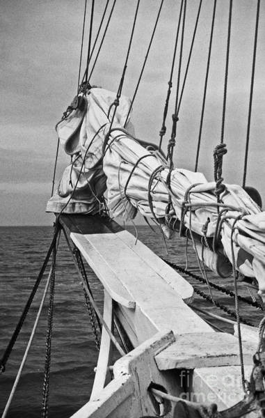 Skipjack Wall Art - Photograph - Bow Sprit In Bnw by Skip Willits