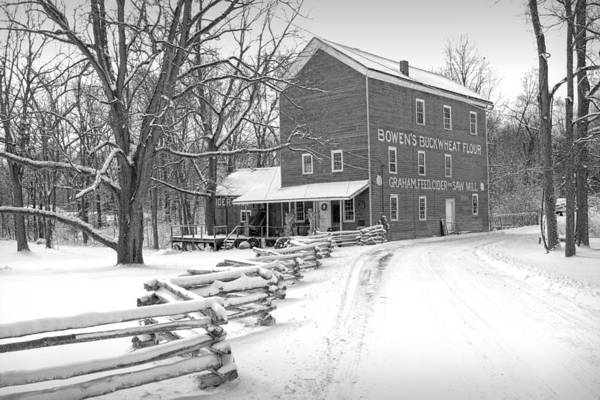 Photograph - Bowen's Mill In Winter by Randall Nyhof
