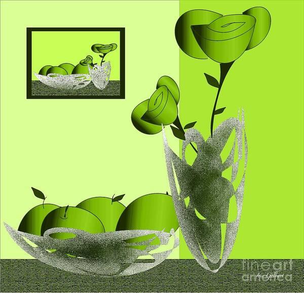 Jug Digital Art - Fruit And Flowers In Green by Iris Gelbart