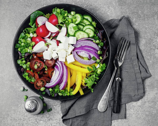 Napkin Photograph - Bowl Of Fresh Vegetables by Claudia Totir