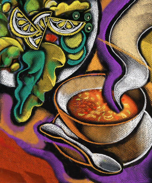 Diet Painting - Bowl Of Soup by Leon Zernitsky