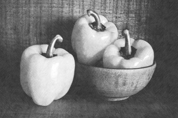 Wall Art - Photograph - Bowl With Three Peppers by Frank Wilson