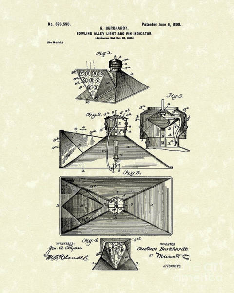 Drawing - Bowling Alley 1899 Patent Art by Prior Art Design
