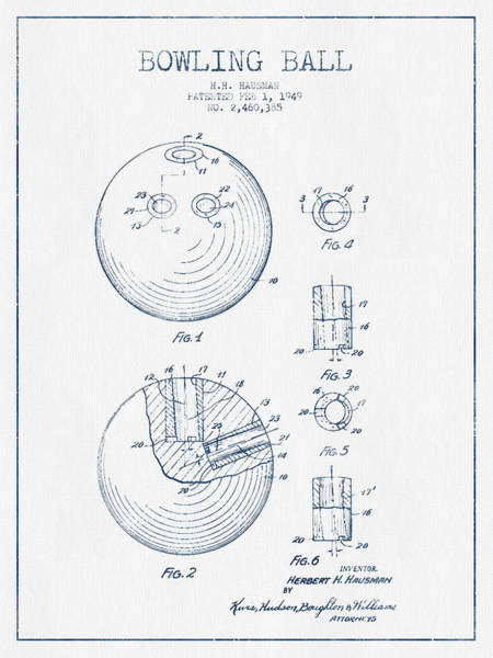 Bowling Ball Wall Art - Digital Art - Bowling Ball Patent Drawing From 1949 - Blue Ink by Aged Pixel