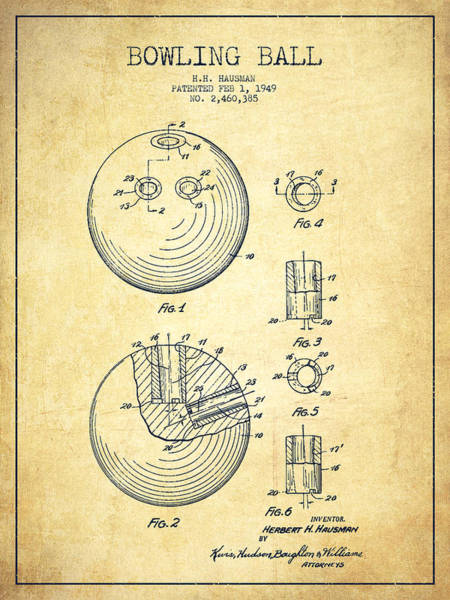Bowling Ball Wall Art - Digital Art - Bowling Ball Patent Drawing From 1949 - Vintage by Aged Pixel