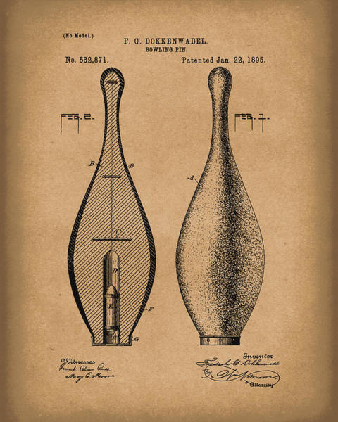 Drawing - Bowling Pin 1895 Patent Art Brown by Prior Art Design