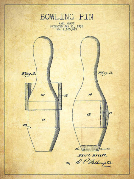 Bowling Ball Wall Art - Digital Art - Bowling Pin Patent Drawing From 1938 - Vintage by Aged Pixel