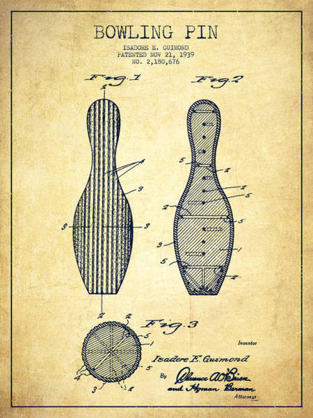 Bowling Ball Wall Art - Digital Art - Bowling Pin Patent Drawing From 1939 -vintage by Aged Pixel