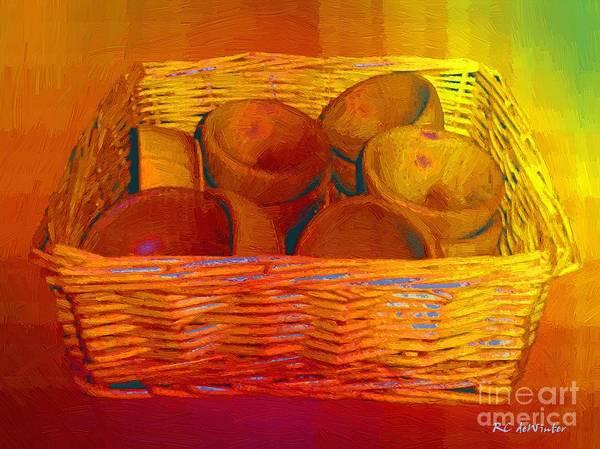 Wicker Basket Digital Art - Bowls In Basket Moderne by RC DeWinter