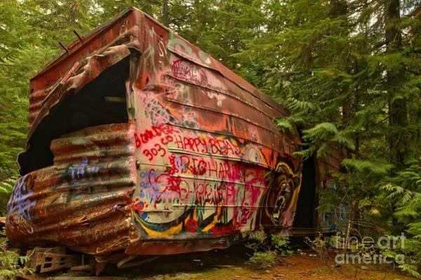 Photograph - Box Car Train Wreck In British Columbia by Adam Jewell