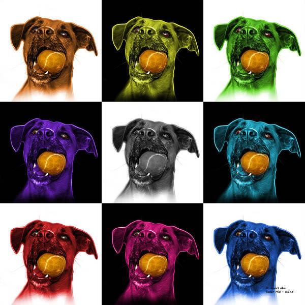 Mixed Media - Boxer Mix Dog Art - 8173 - V2 - M by James Ahn