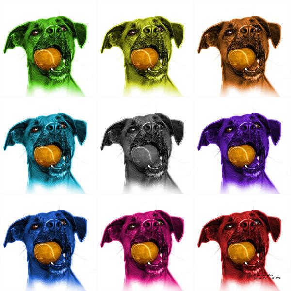Digital Art - Boxer Mix Dog Art - 8173 - Wb - M by James Ahn