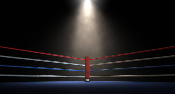 Ring Digital Art - Boxing Corner Spotlit Dark by Allan Swart