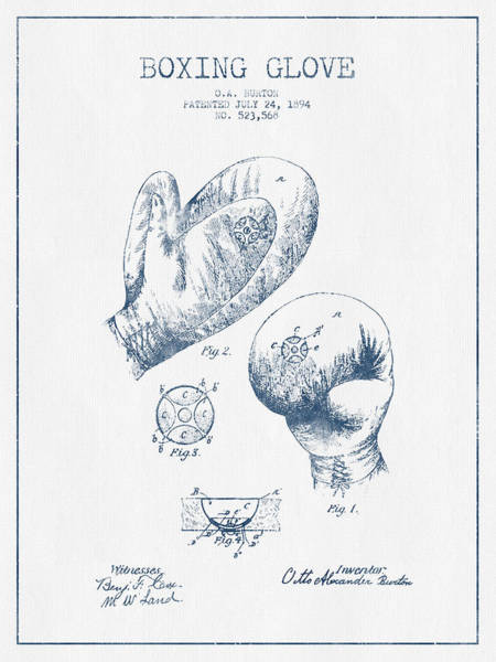 Gloves Digital Art - Boxing Glove Patent Drawing From 1894  -  Blue Ink by Aged Pixel