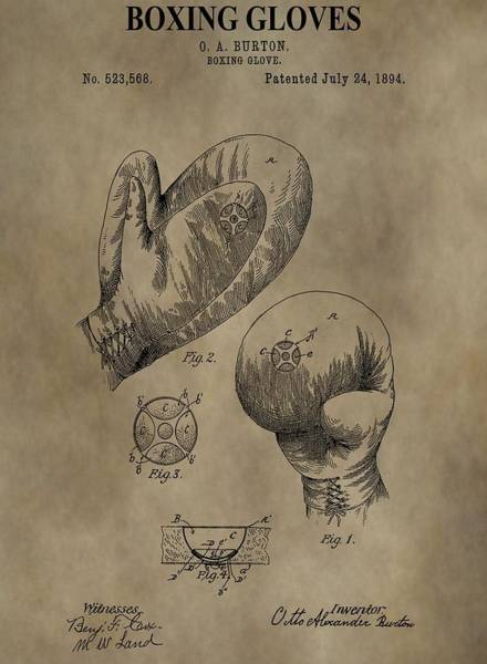 Digital Art - Boxing Gloves Patent by Dan Sproul