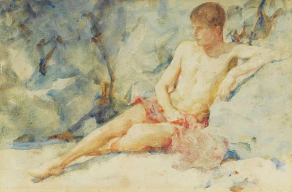 Drawing - Boy Against Rock by Henry Scott Tuke