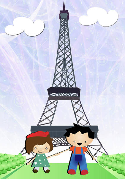 Wall Art - Photograph - Boy And A Girl In Front Of Eiffel Tower by Fanatic Studio / Science Photo Library