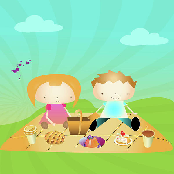 Intellectual Photograph - Boy And A Girl On A Picnic In A Park by Fanatic Studio / Science Photo Library
