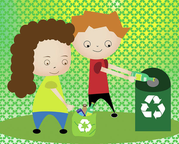 Bottle Green Photograph - Boy And A Girl Recycling by Fanatic Studio / Science Photo Library
