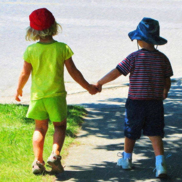 Painting - Boy And Girl Holding Hands by Dean Wittle