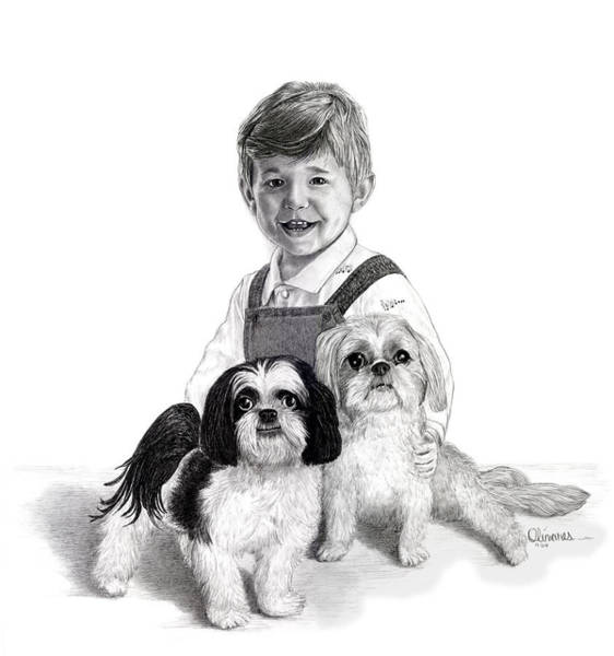 Drawing - Boy And Pets by Joe Olivares