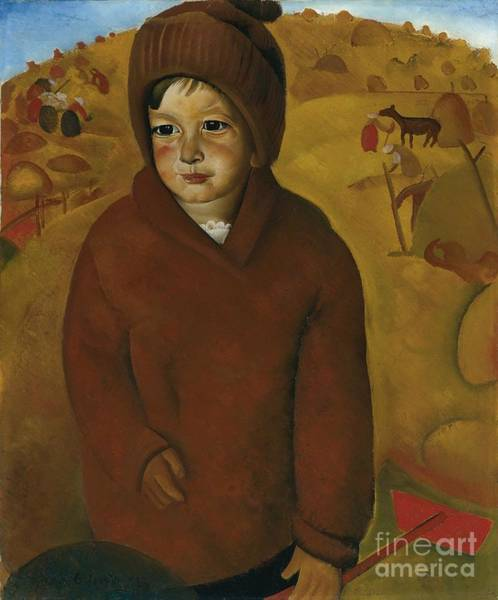 Painting - Boy At Harvest Time by Celestial Images