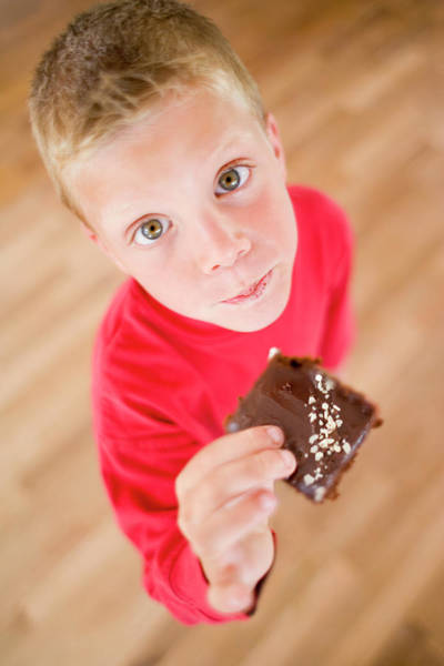 But Photograph - Boy Eating Chocolate Cake by Ian Hooton/science Photo Library